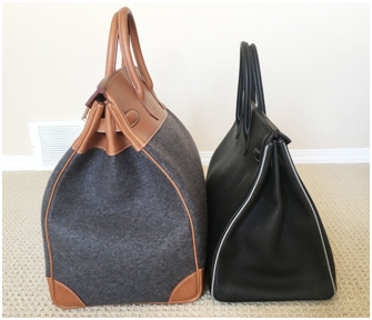 5389a1c5150f The left bag is the HAC 40 Bag while on the right lays the Birkin 40 Bag.  The HAC 40 Bag is measured approximately 40 x 40 x 23 (W x H ...
